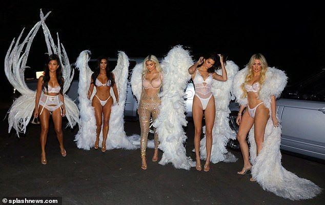 Kardashian Jenner Halloween 2020 Angels Khloe Kardashian and Kylie Jenner dress up as Victoria's Secret