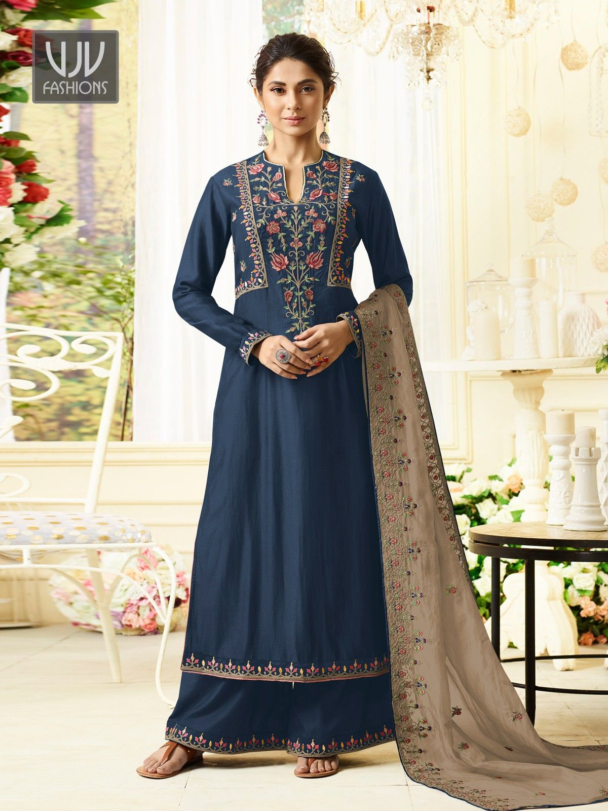 9cdad1a242 Jennifer Winget Navy Blue Silk Designer Palazzo Suit Shop For salwar kameez  with customizable suit Online in India at VJV Fashions Available in all  Design ...