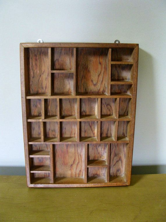 Vintage Handcrafted wood SHADOW BOX - knick knack shelf- display case- wall curio -miniatures collections- 26 compartments - collectors case