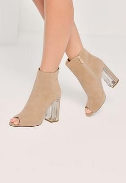 2d1a97f5791b Nude Faux Suede Peep Toe Perspex Heeled Boots