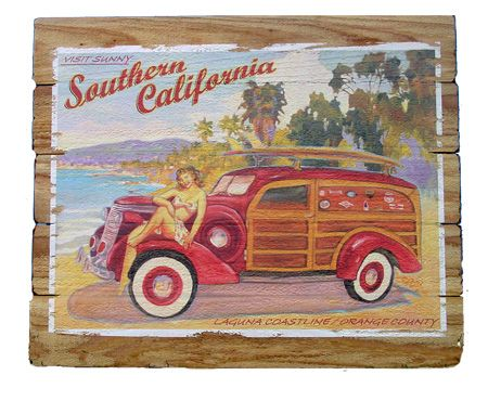 Rick Sharp California Vintage Redwood Signs Retro Surf Art