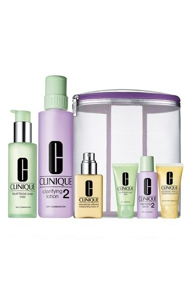 Clinique Great Skin Home Away 3 Step Skincare Set For Dry To Dry Combination Skin 90 Value Nordstrom Skincare Set Facial Cleanser Clinique Makeup