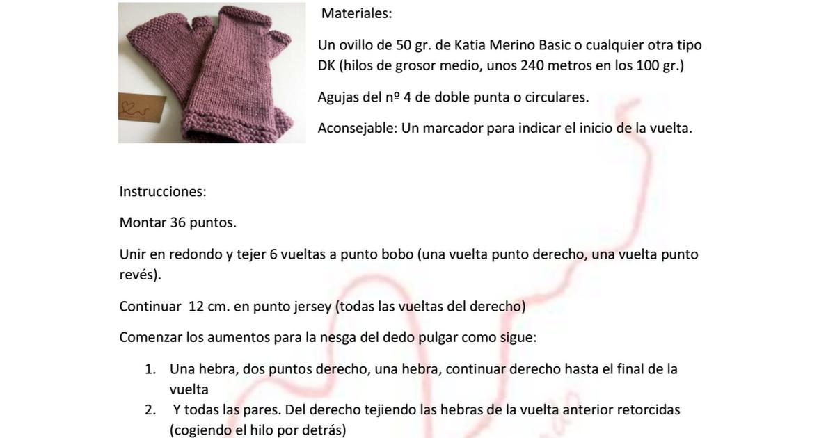 Mitones sin costuras.pdf | tejidos | Pinterest | Mitones, Costura y ...