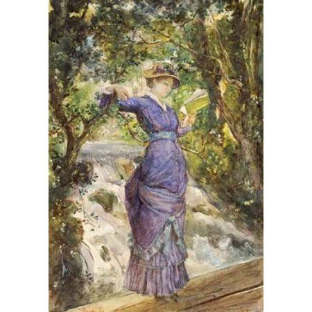 Girl Reading By a Waterfall Canvas Art - Maria Konstantinovna Bashkirtseva (20 x 28)