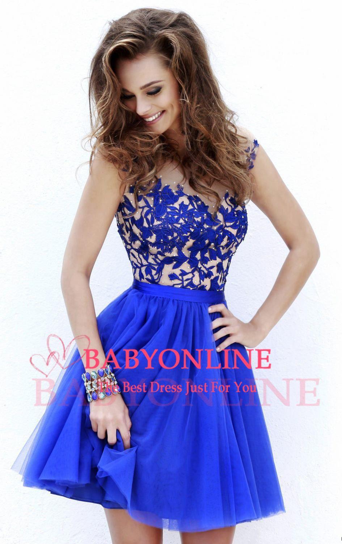 Vestidos curtos azul royal