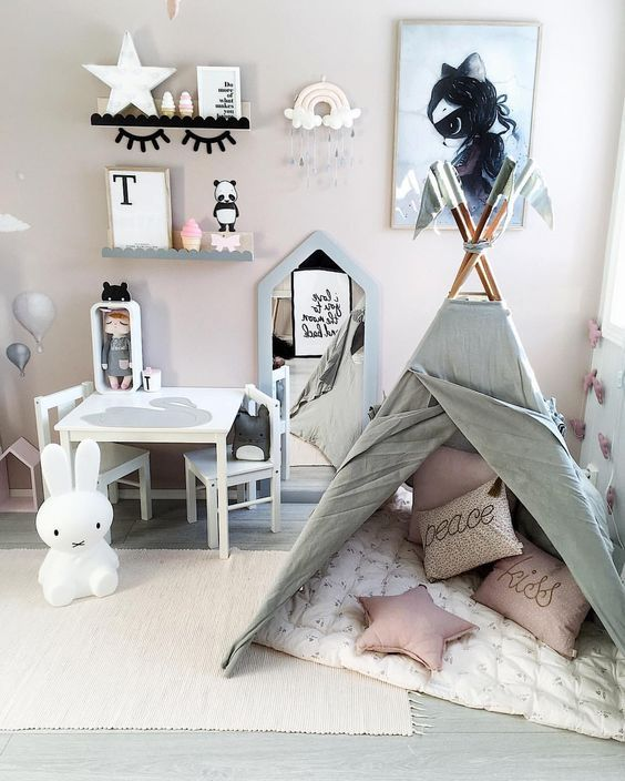 girls room featuring numero74 teepee and many cushions pieza ni as pinterest kinderzimmer. Black Bedroom Furniture Sets. Home Design Ideas