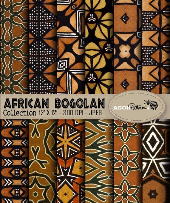 Packung mit 12 afrikanischen digitalen Mustern BOGOLAN Muster Afrika Papier digitale afrikanische Muster