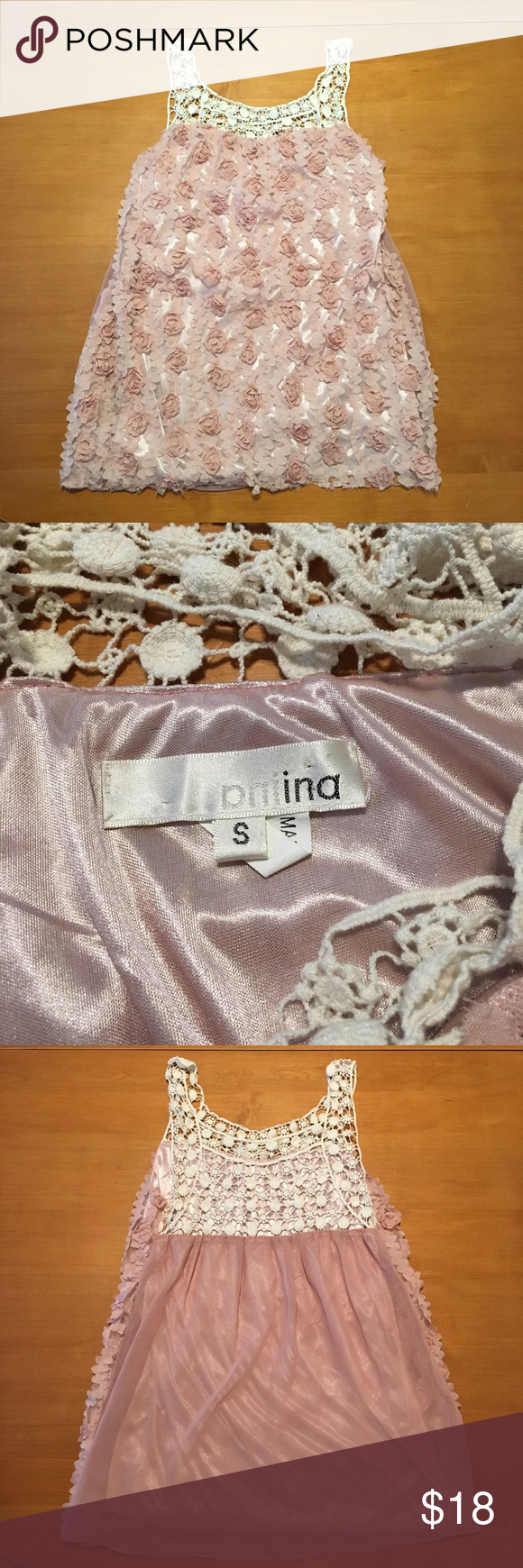 Aniina lace tank top White lace on the top, straps and back. Soft pink line sheer overlay with rosettes. Good used condition only for fraying on bottom in back. Due to raw edge and type of fabric. So fun and feminine! aniina Tops Tank Tops