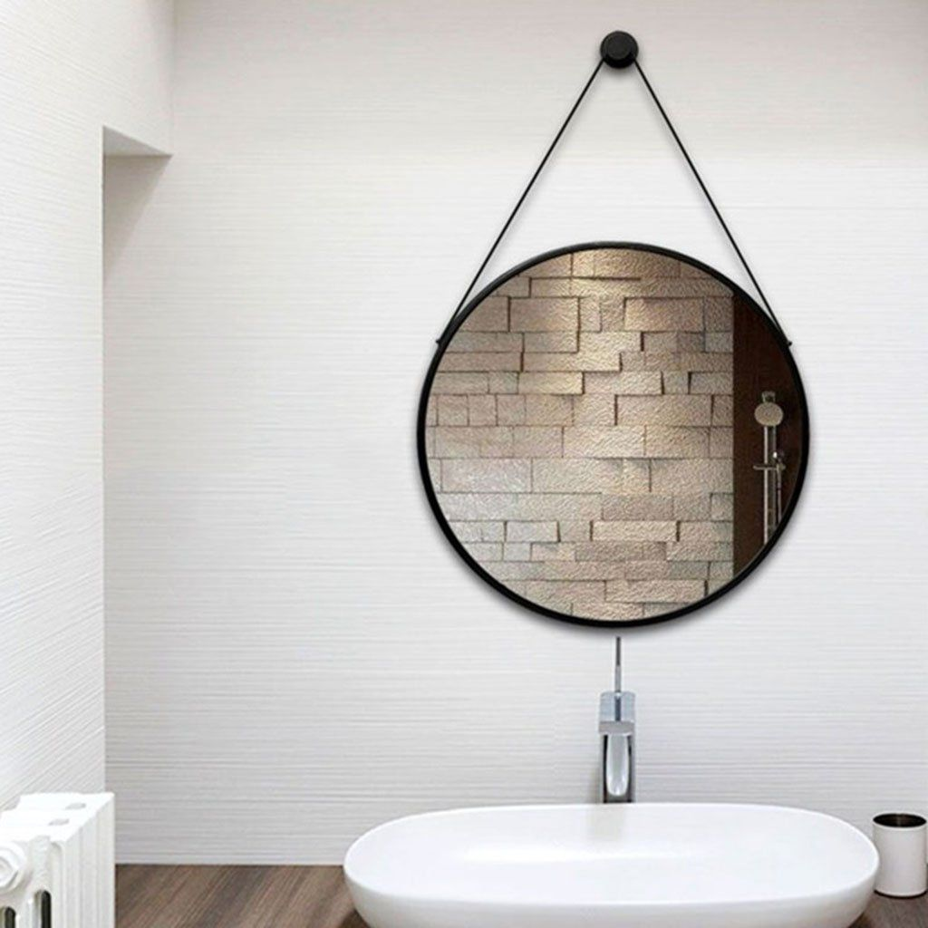 Mirror Hanging On The Wall Round Bathroom Mirror Wrought Iron