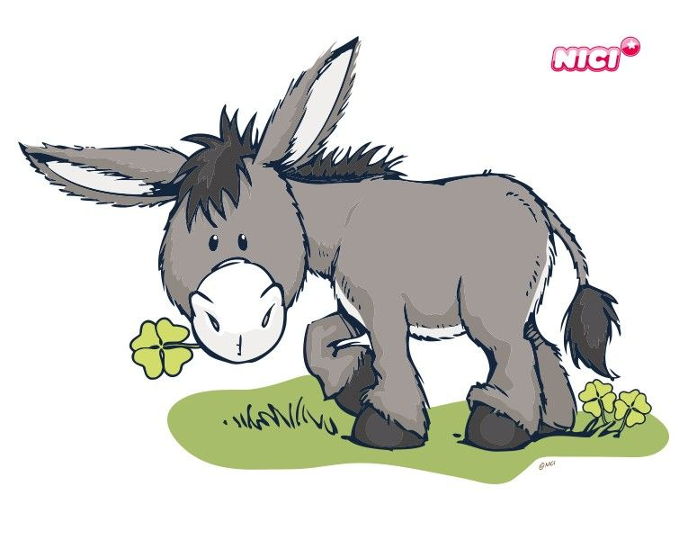 Wandtattoo Nici Donkey mit Klee   Esel, Wandtattoo und ...