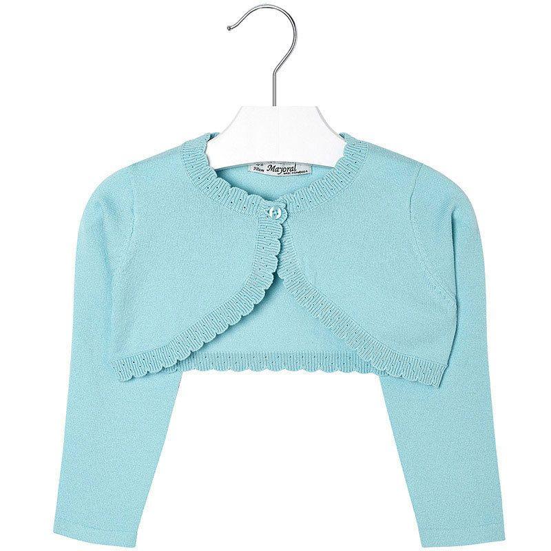 Mayoral Girls Basic Knitted Cardigan Shrug Sweater  Beautiful Mayoral  little girl eyelet-edge knit ef693d756