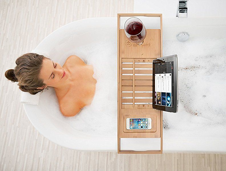 Amazon.com: Bamboo Bathtub Caddy Tray with Extending Sides, Reading ...