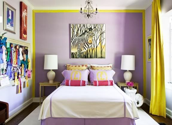 #bedroom #yellow #purple