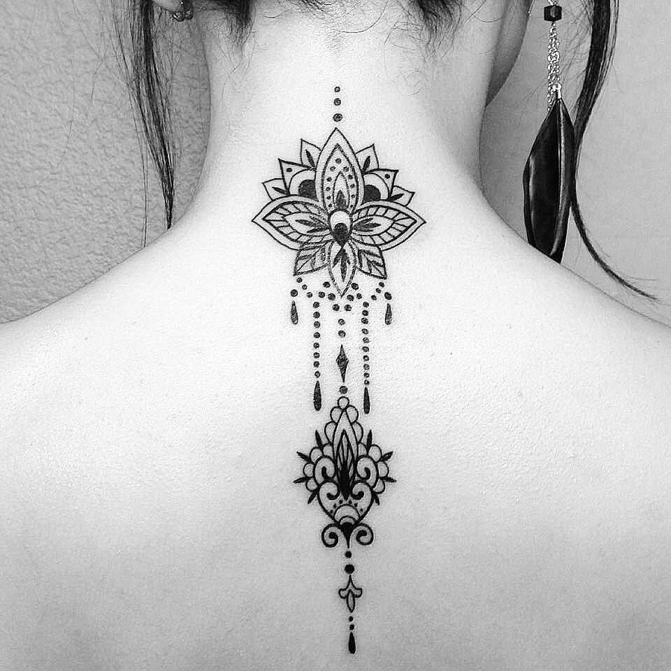 Tattoosonneck Neck Tattoos Women Back Of Neck Tattoo Mandala Tattoos For Women