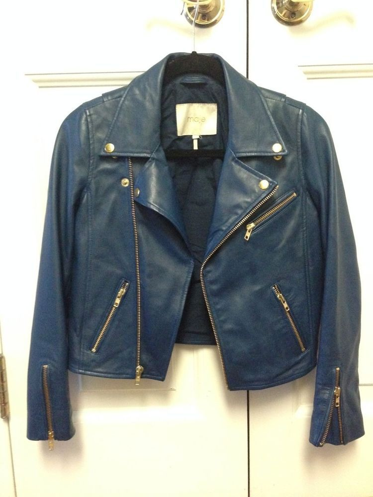 Maje Blue Leather Jacket with Gold Components