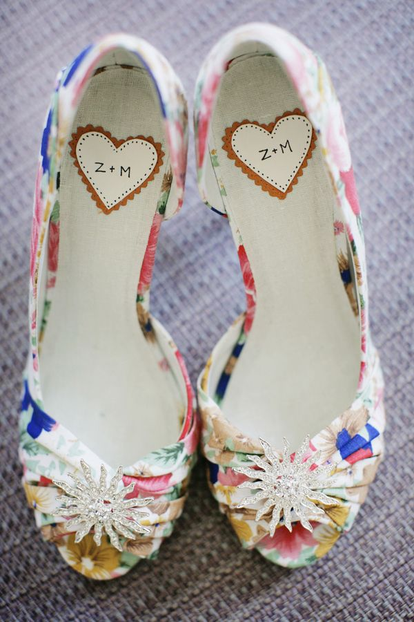 floral shoes with the couple's initials // photo from Alders Photography