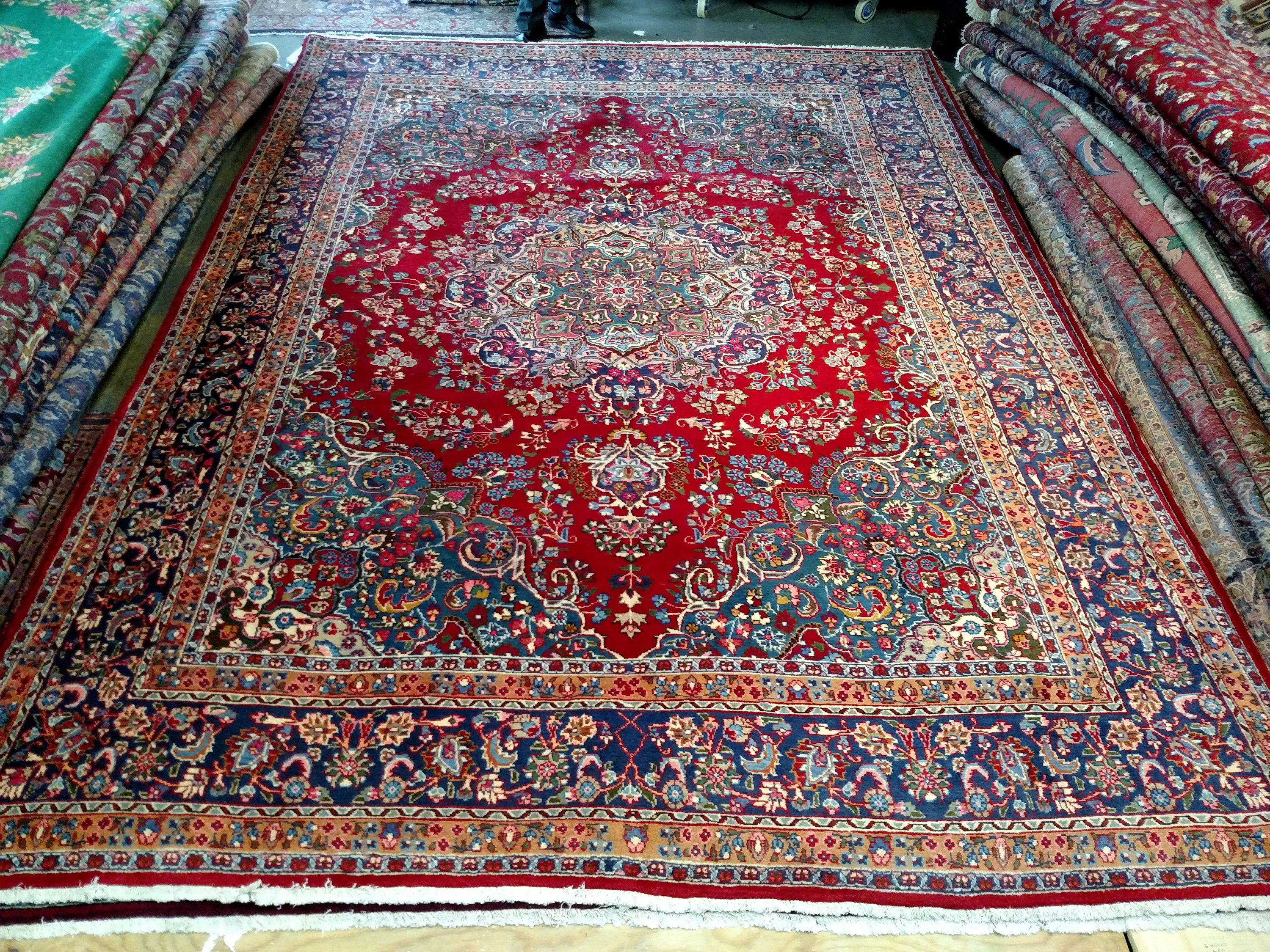 1980s Hand Knotted Mashad Sabzevar Persian Rug Room Sized 1290 By Jahannandsons On Etsy Rugs Persian Rug Bohemian Rug