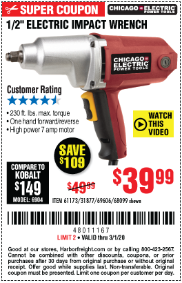 Chicago Electric 1 2 In Heavy Duty Electric Impact Wrench For 39 99
