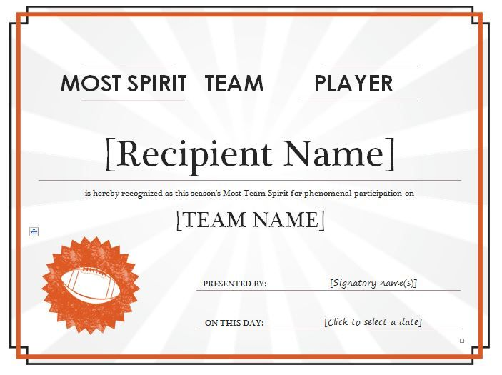 Team spirit award certificate can be used in organizations for Team certificate template