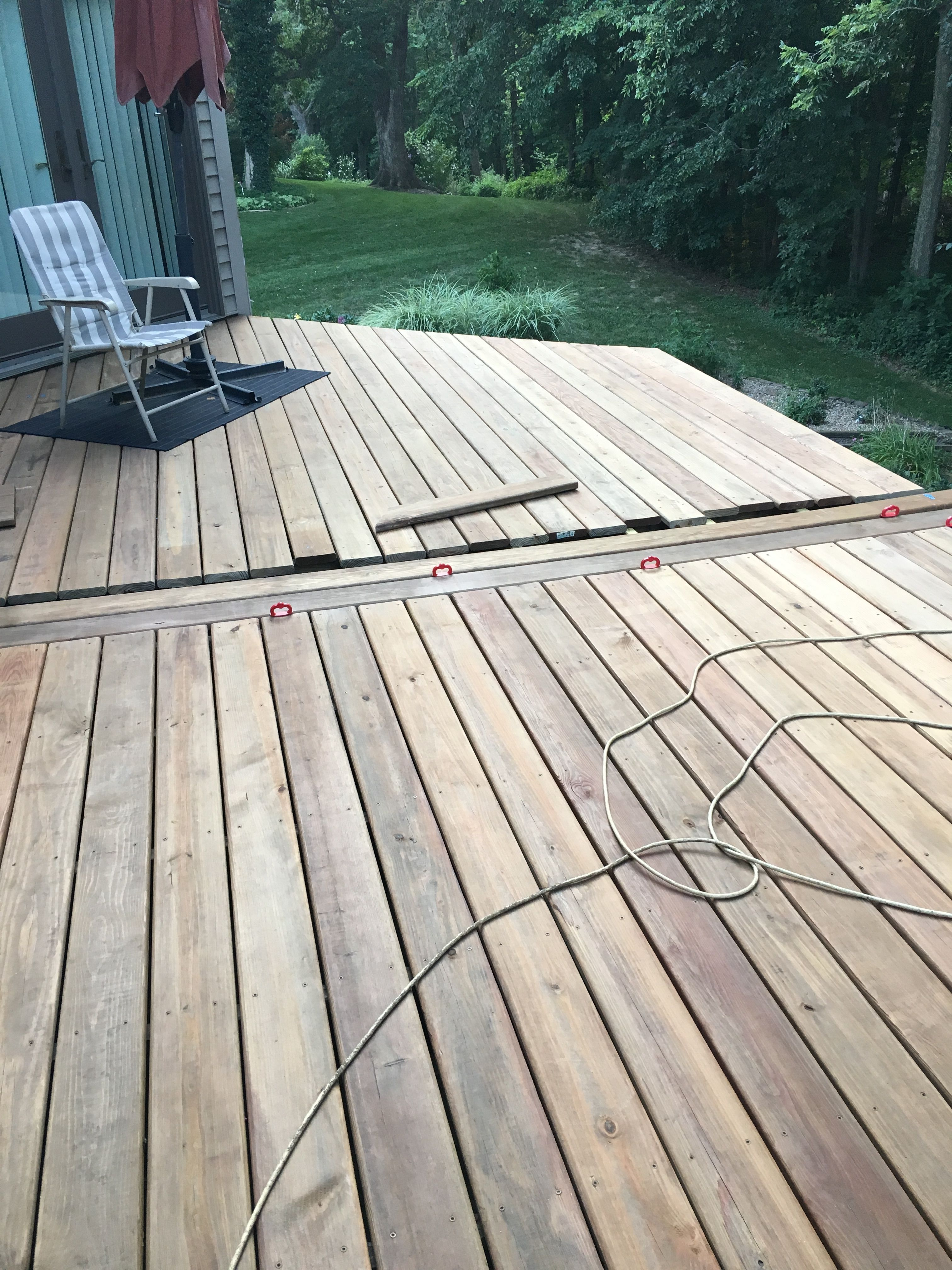 Dryfit And Install Middle Deck Boards May June 2017 Ac2 Cedartone Deck Boards From Menards 2017 Deck Renovation Deck At I Deck Renovation Deck Deck Boards