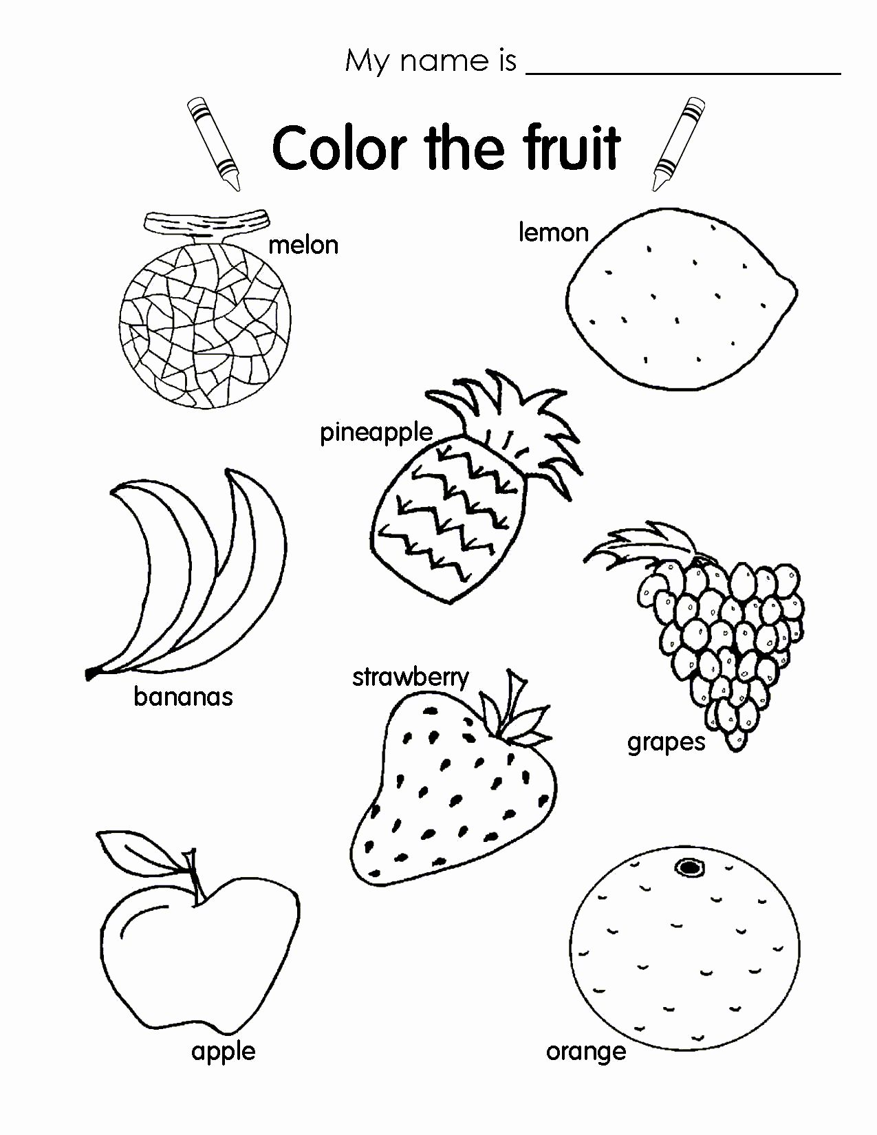 Fruits Coloring Worksheets For Kindergarten Best Of Pin By