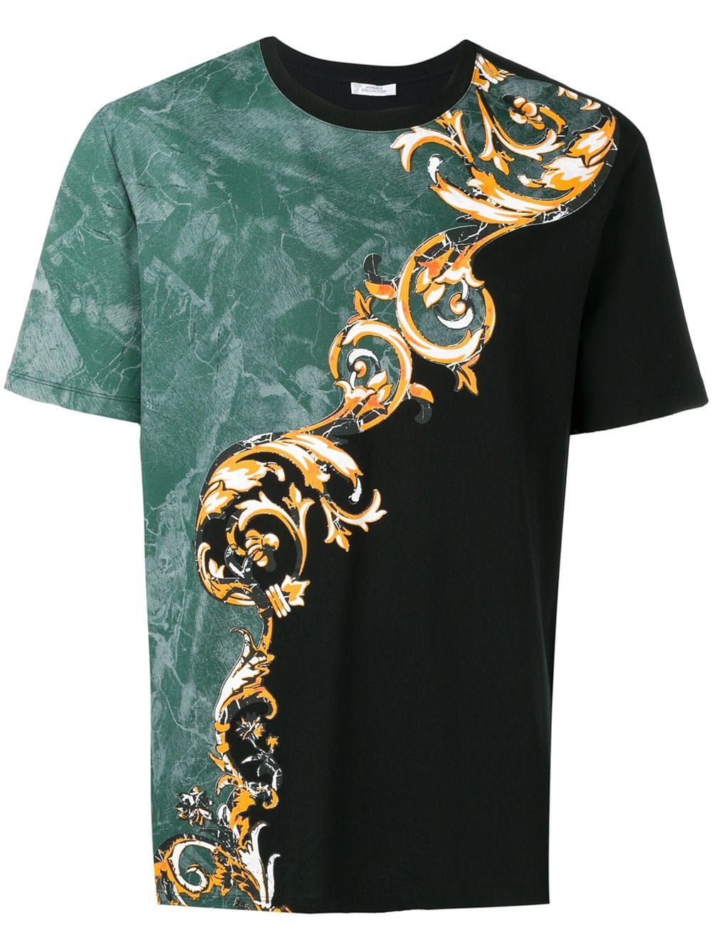 55a53179c888 VERSACE VERSACE COLLECTION COLOURBLOCK MARBLED BAROQUE T-SHIRT - BLACK. # versace #cloth