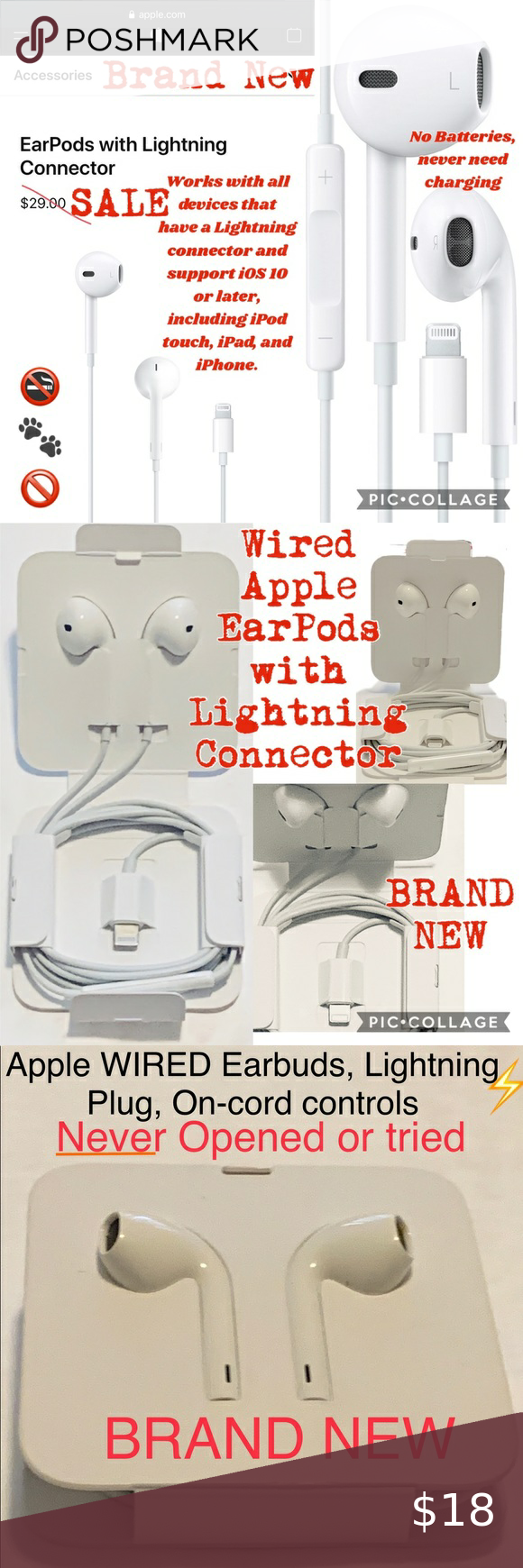 Apple Earpods With Lightning Connector Brand New Connector Lightning Apple