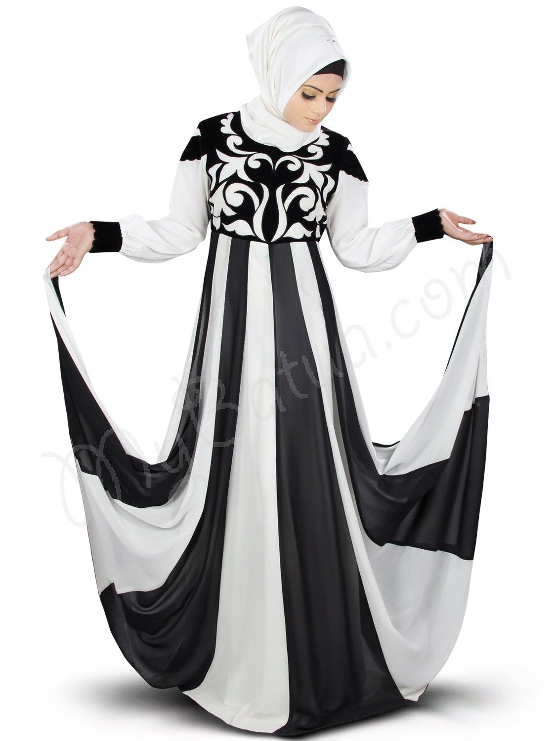 Beautiful Panels All-round Off White and Black Party Wear Abaya | MyBatua.com Shurafa Abaya ! Style No : AY-359 Shopping Link : http://www.mybatua.com/shurafa-abaya Available Sizes XS to 7XL (size chart: http://www.mybatua.com/size-chart/#ABAYA/JILBAB) • Party wear Abaya with round neckline • Dual color panels all-round below waist • Velvet patch work embroidery in front • Bishop sleeves finished with velvet embroidery patch • Matching Square Hijab (100x100 cm approx.)