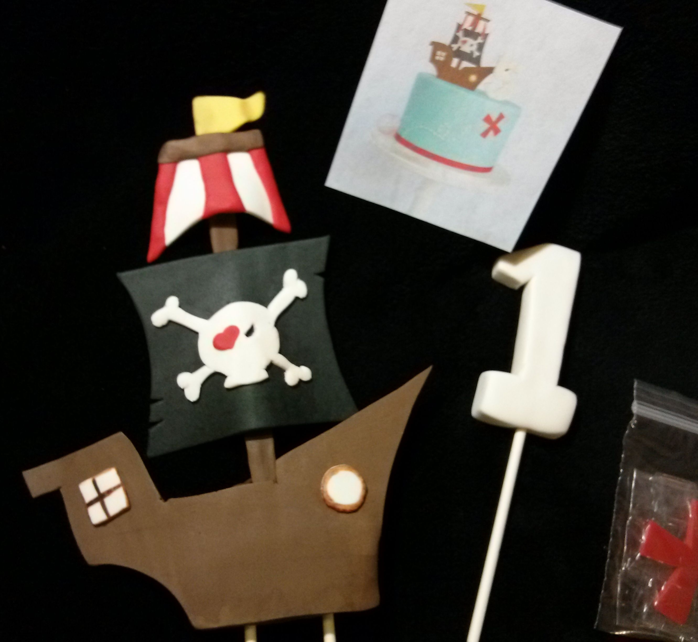 Pirate Ship #1 and Red X Cake Topper