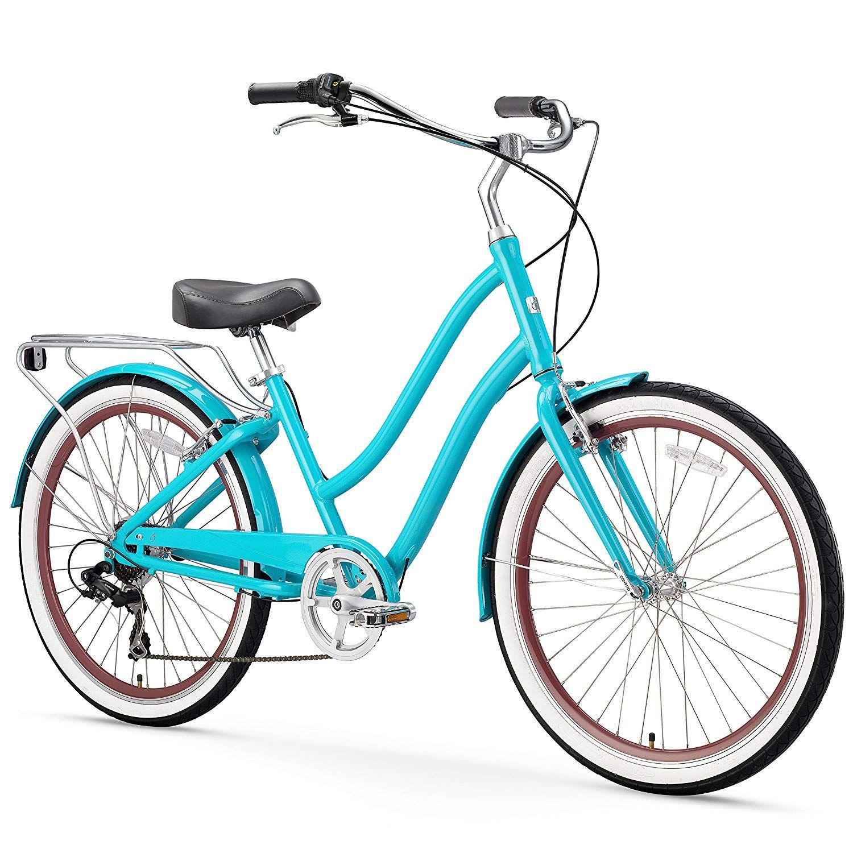 Amazon Com Sixthreezero Evryjourney Women S 7 Speed Step Through Hybrid Cruiser Bicycle Cream W Brown Seat Grips Hybrid Bicycle Hybrid Bike Cruiser Bicycle