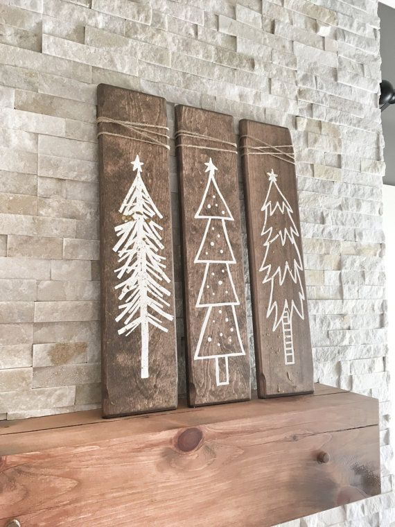 Set mit 3 rustikalen hölzernen Weihnachtsbäumen, Weihnachtsholzbaumschmuck für die Weihnachtszeit, Weihnachtsgeschenk und Geschenk, Rustikale Weihnachten