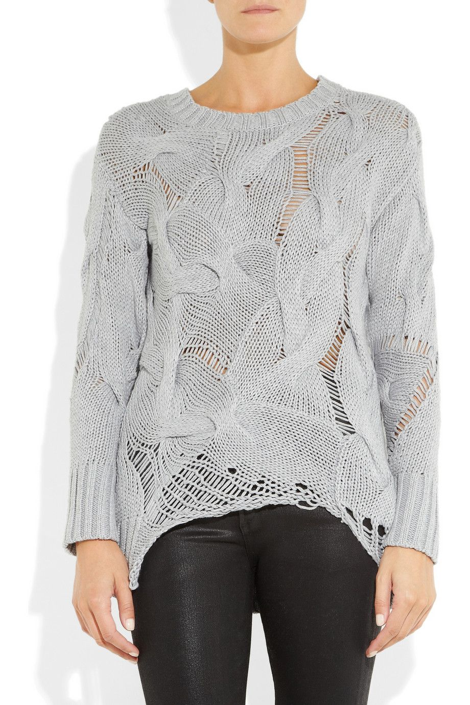 2b24bfab22 MICHAEL Michael Kors | Laddered cable-knit cotton-blend sweater ...