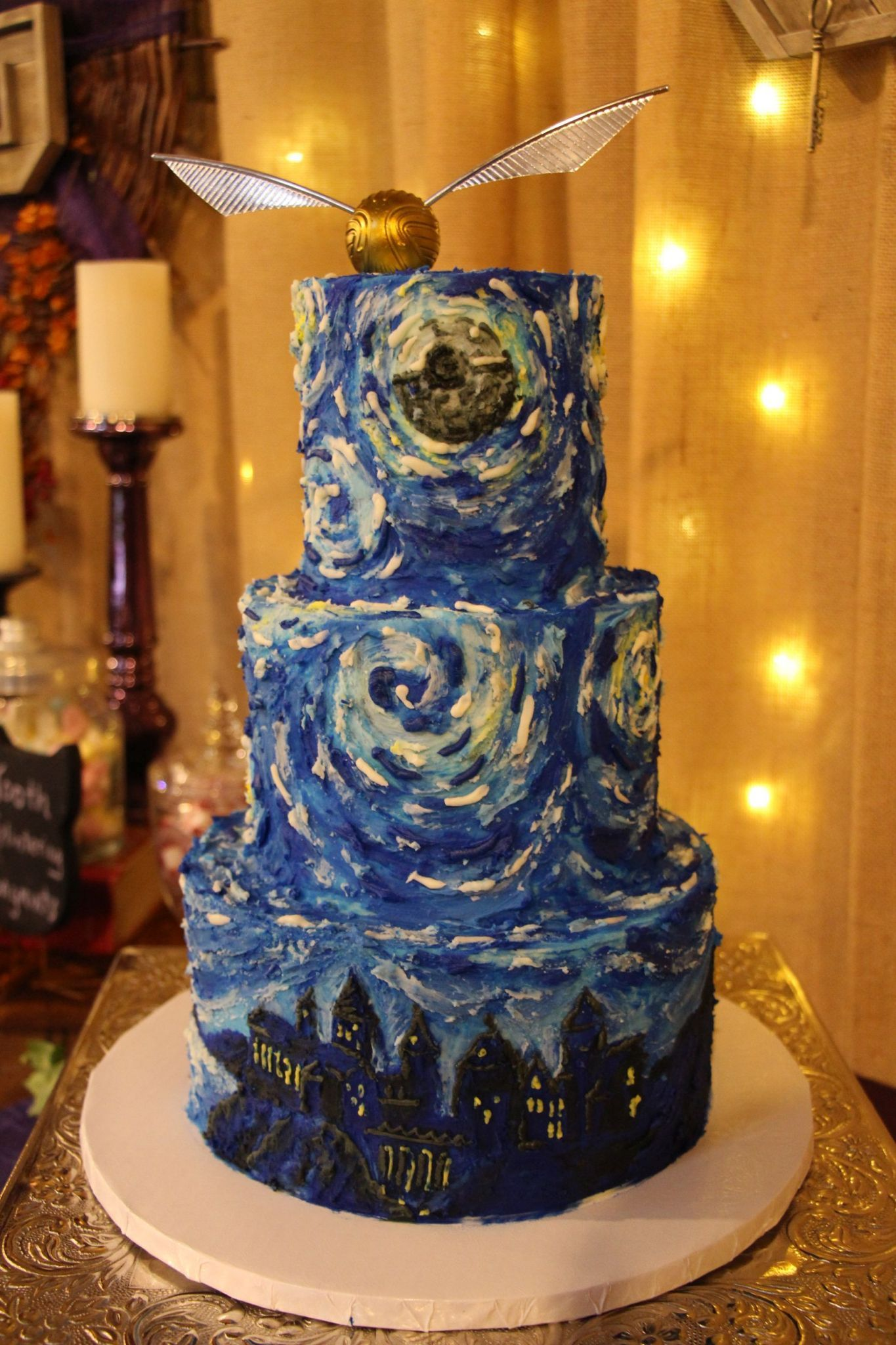 Handpainted Starry Night with Hogwarts skyline and death star moon ...
