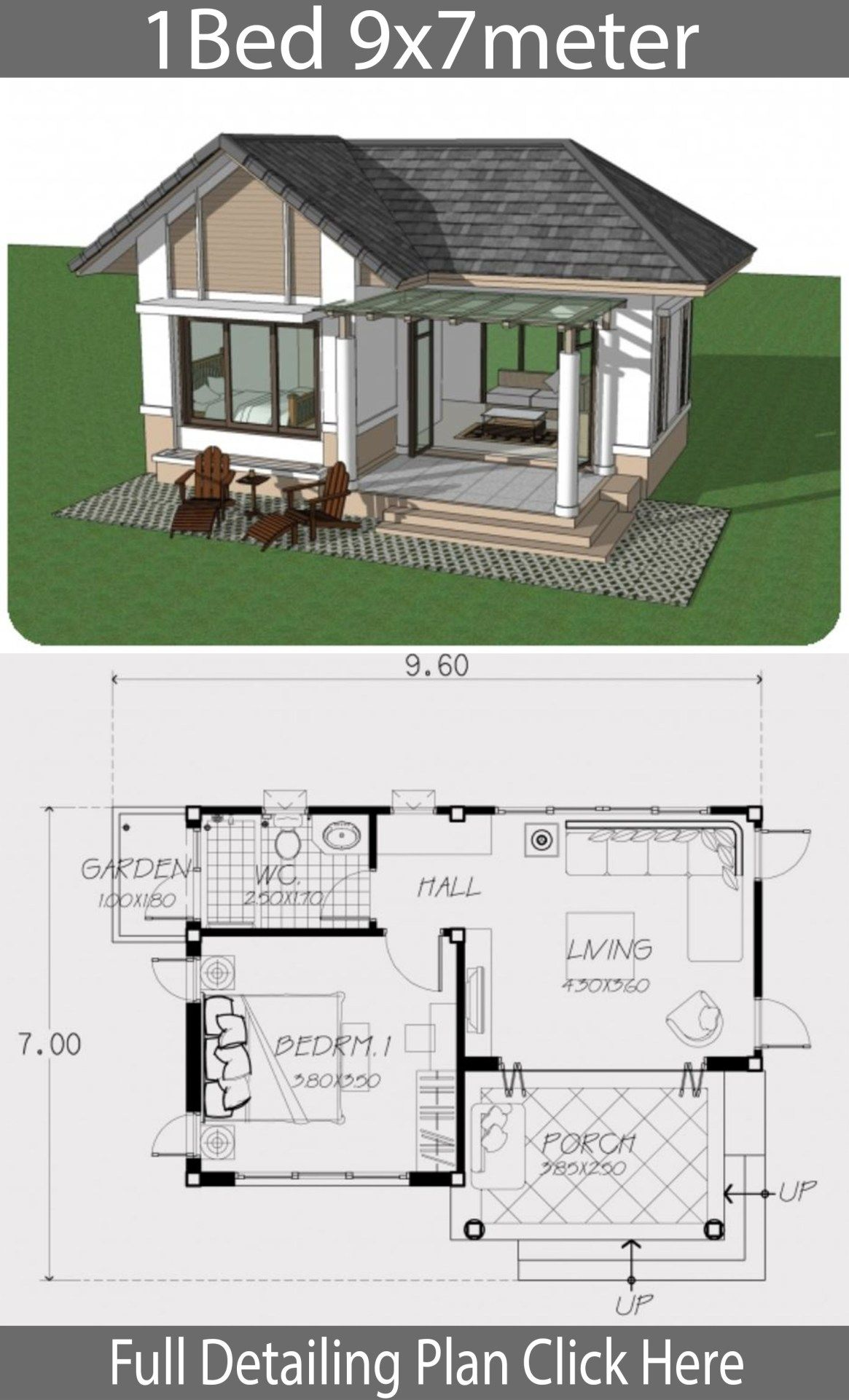 Home Design Plan 9x7m With One Bedroom Home Design With Plansearch One Bedroom House Bungalow House Design Little House Plans