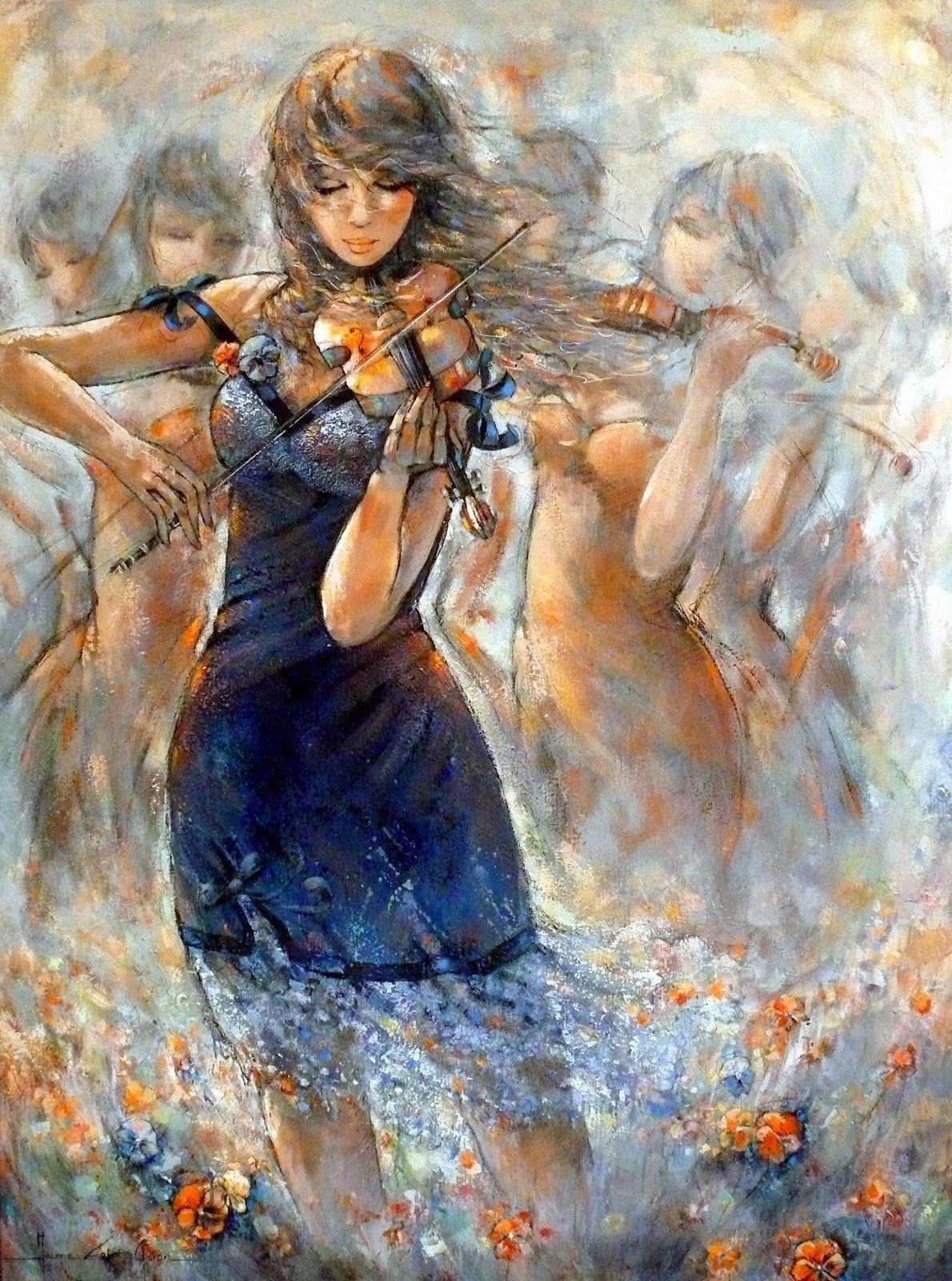 Jeanne Saint Chéron, 1973 Violin art, Painting, Music