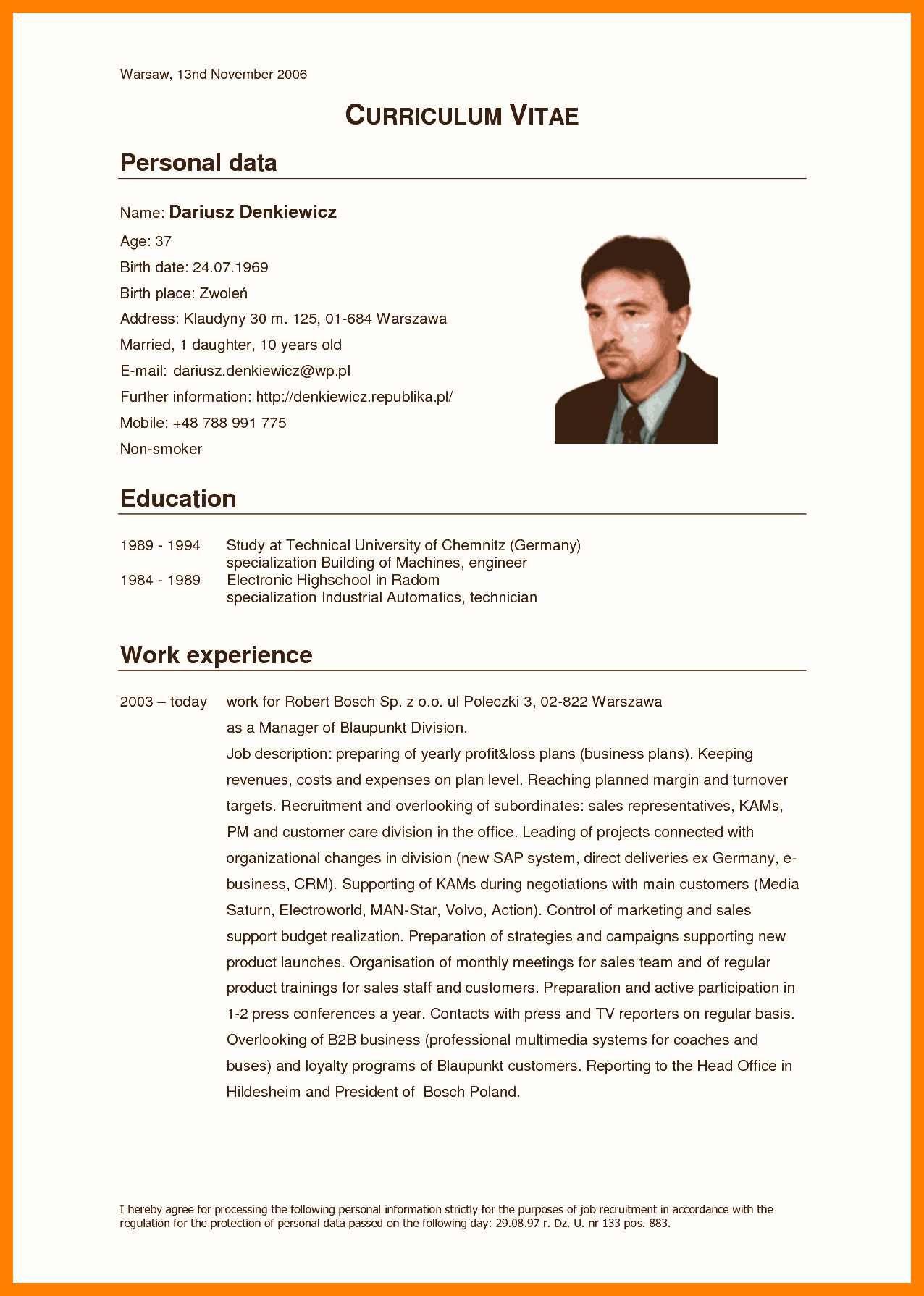 Resume Format Germany Resume format, Resume, Biodata
