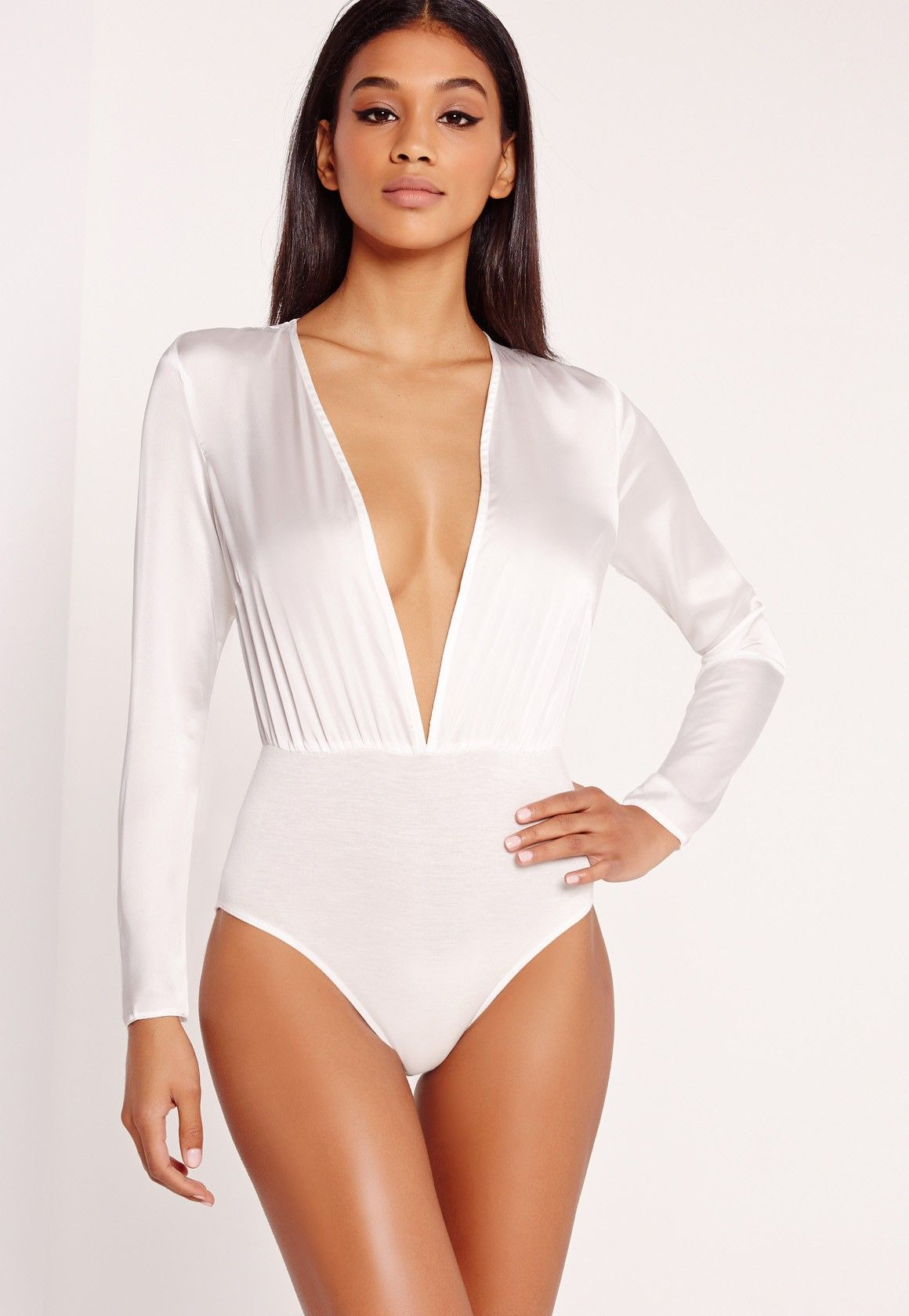 Missguided - Hammered Satin Bodysuit White  7263b014c