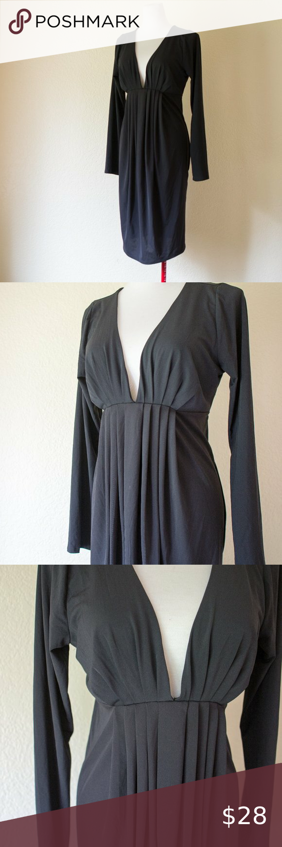Moda International Elegant Deep V Black Dress Xl Long Sleeve Midi Dress Xl Dress Long Sleeve Dress [ 1740 x 580 Pixel ]