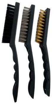 "ToolUSA 3 Piece, 9"""""""" Brush Set, 1 With Steel Bristles, 1 With Brass Bristles, And 1 With Nylon Bristles: TZ6350-YH : ( Pack of 1 Pc )"