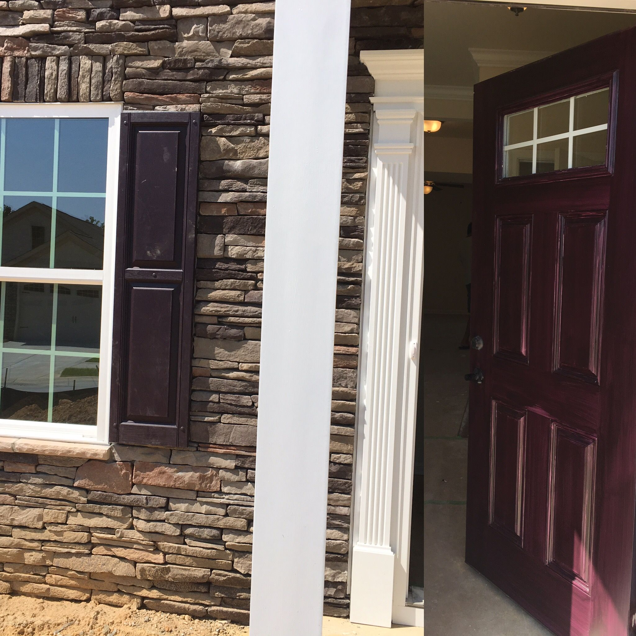 Wild Berry Color For Main Door And Window Shutters. One More Coat Of Paint  Pending Over Main Door. #ryanhomes #venice #elevation #frontdoor