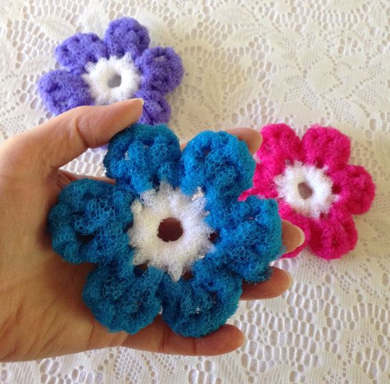 Scrubbies Nylon Pot Scrubber 4 Flower Crocheted Dish Scrubbies