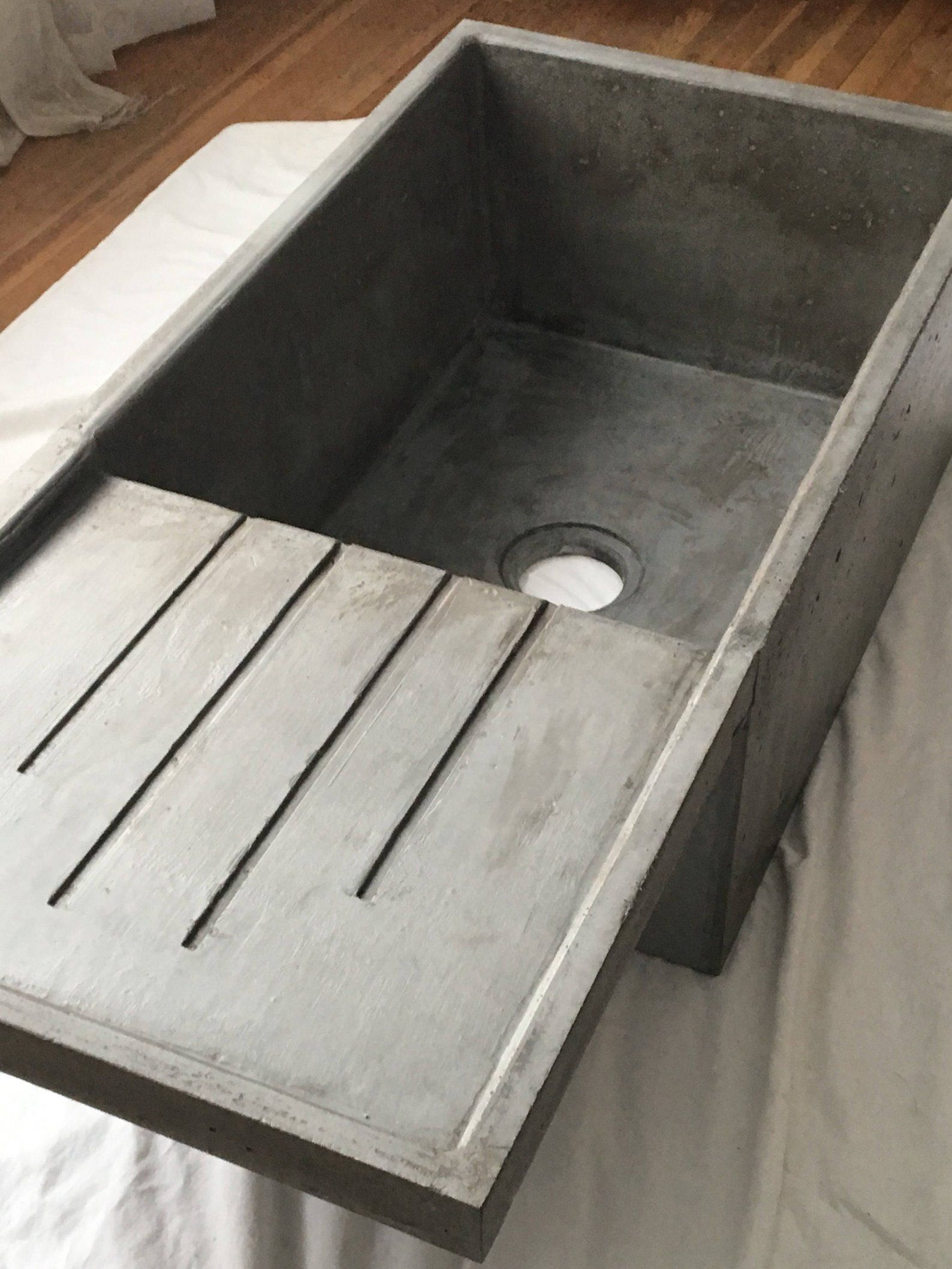 Concrete Farmhouse Sink With Attached Drainboard Concrete
