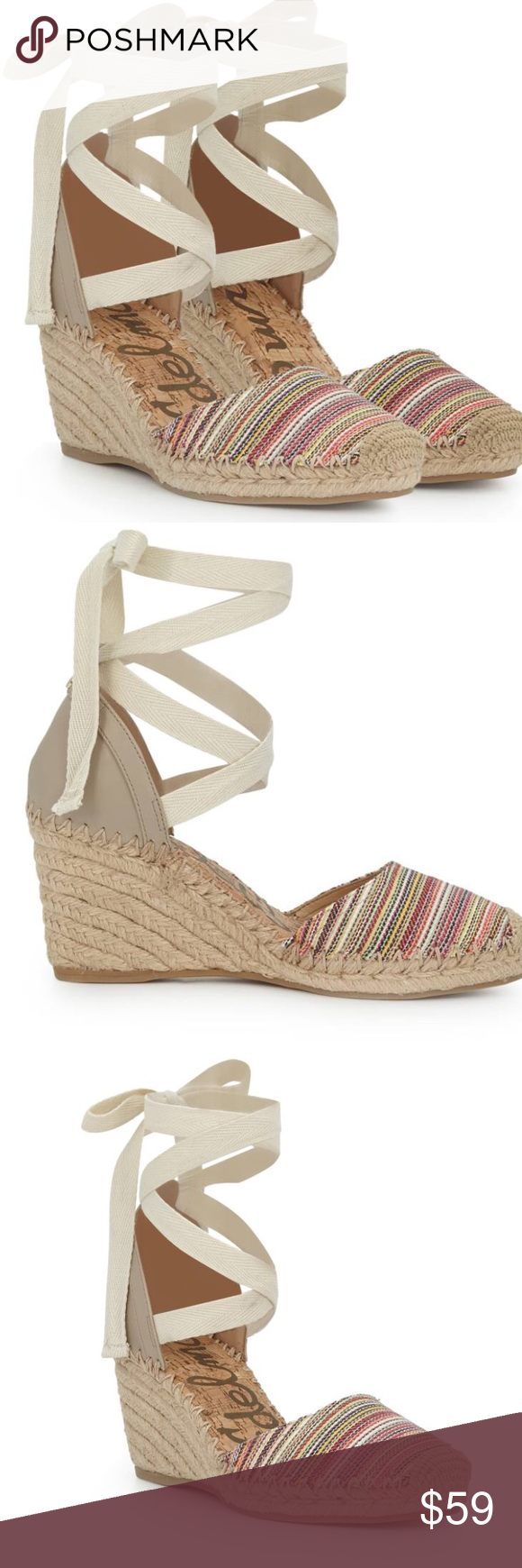 6db819ec8 Sam Edelman Patsy Espadrilles -Lace-up espadrilles wedges -ribbon lace up - multi-color and light weight -fabric man made upper balance -3in wedge  height ...