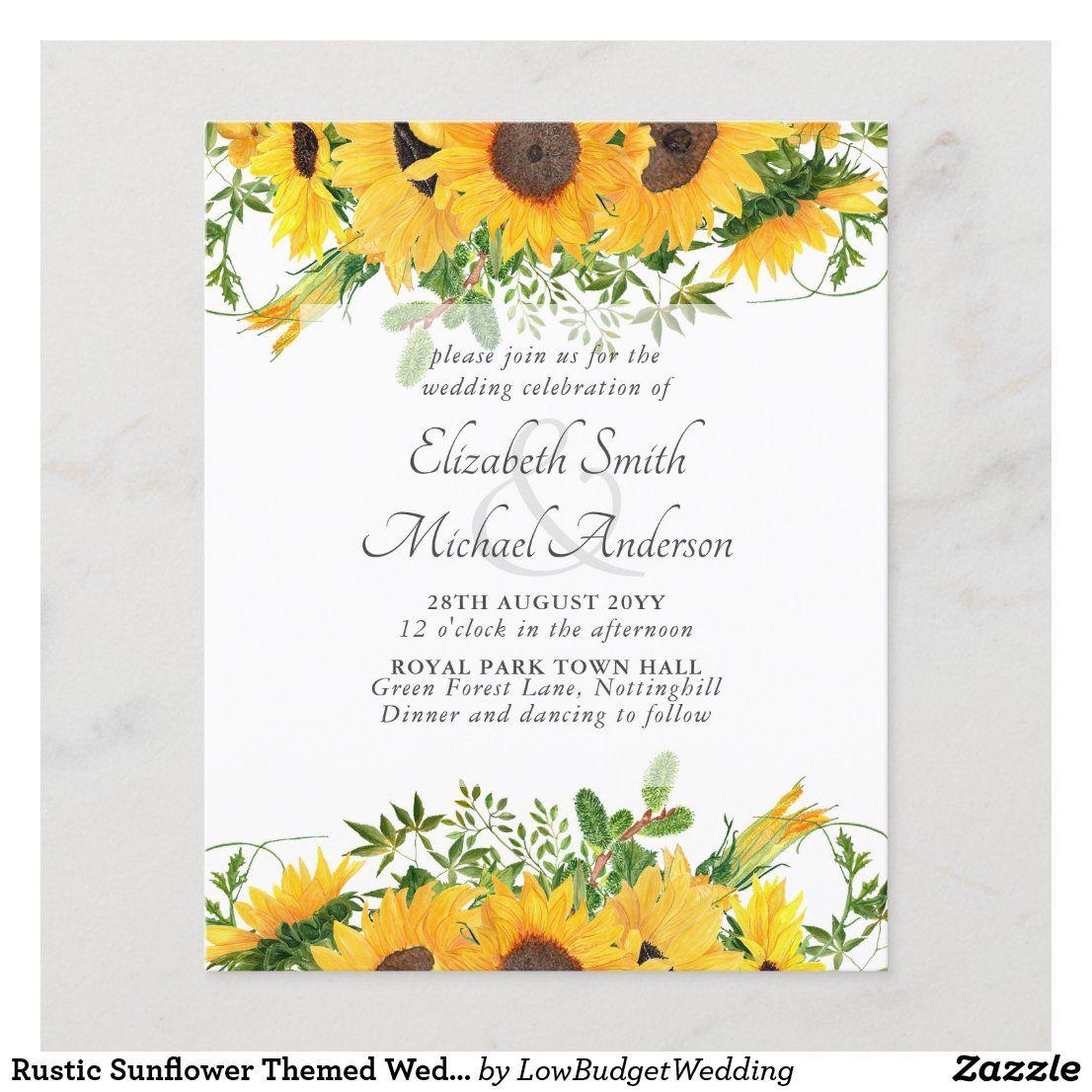 Rustic Sunflower Themed Wedding Stationery Budget Zazzle