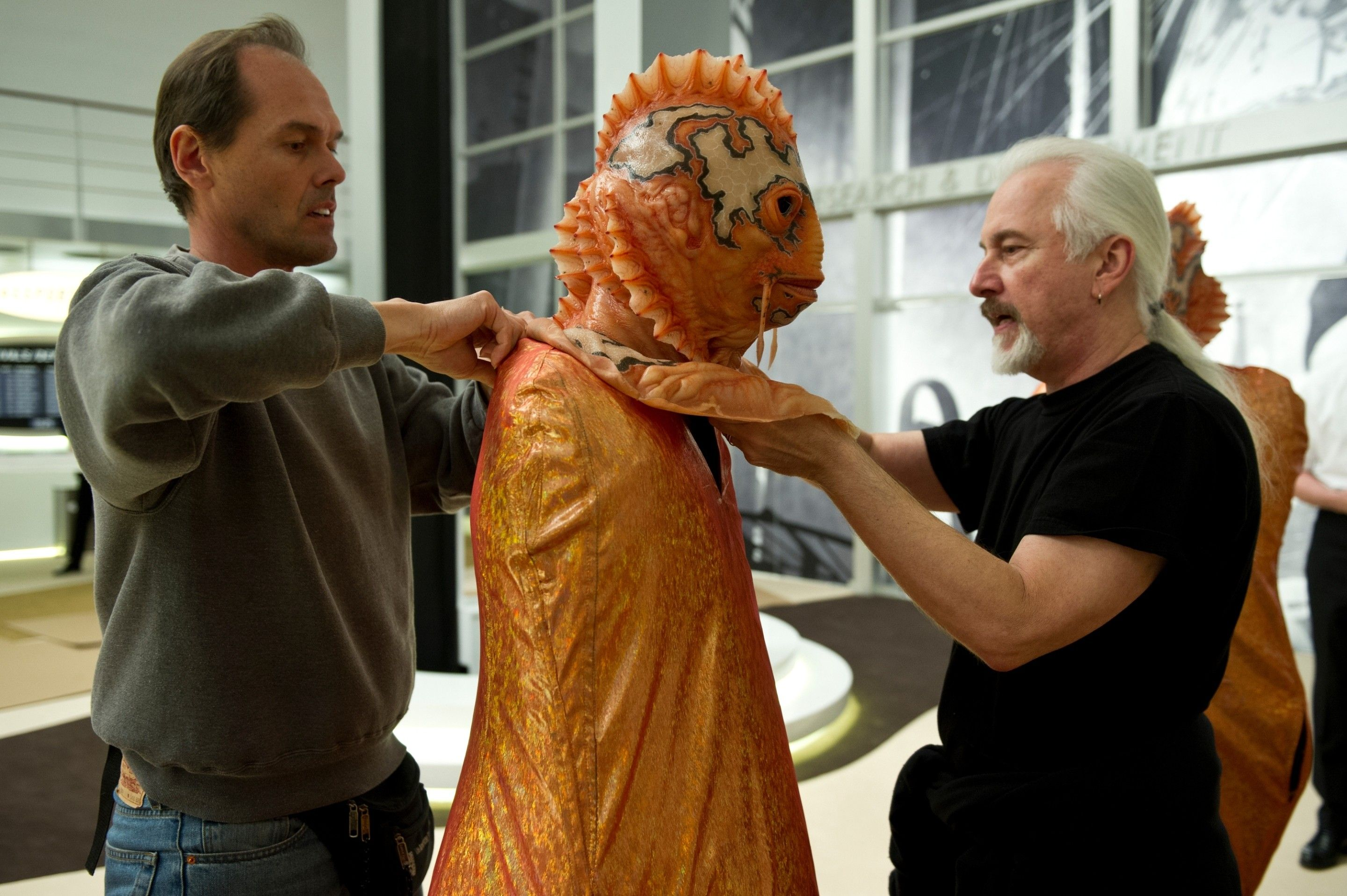 Jurgen Heimann and Rick Baker prep a Bass School Alien