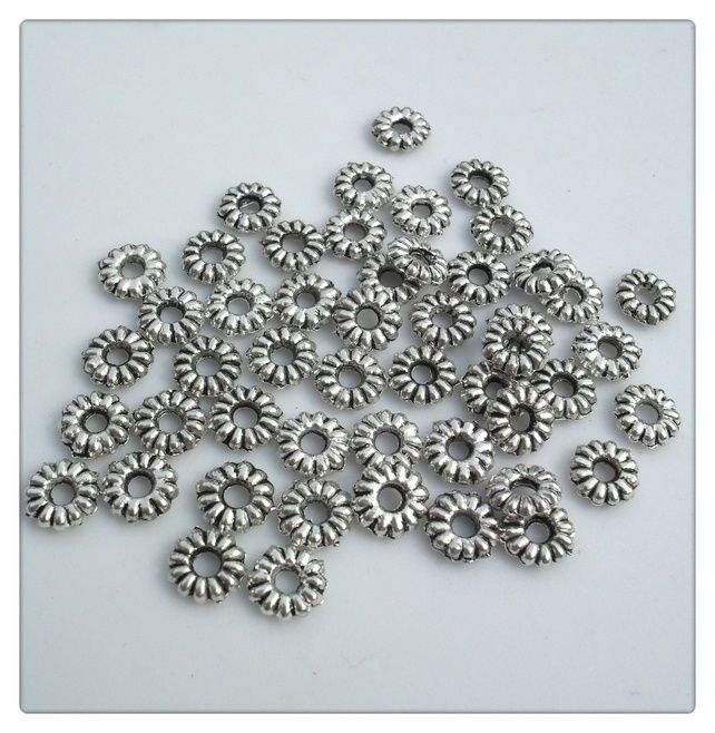 50 x Tibetan Style Spacer Ring Beads - 6.5mm - Silver Plated