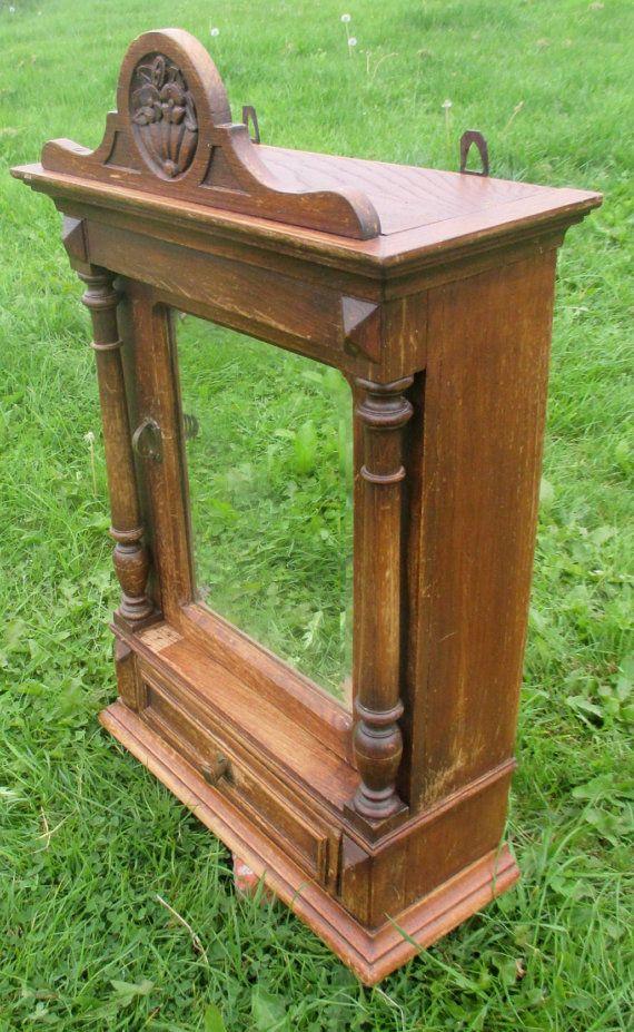 Antique Vintage French Oak Medicine Wood Carved Bathroom Cabinet Beveled Gl Mirror Pillars Mirrors