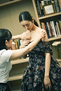 Getting ready with model Liu Wen and designer Zac Posen before the 71st Annual Tony Awards in New York City.