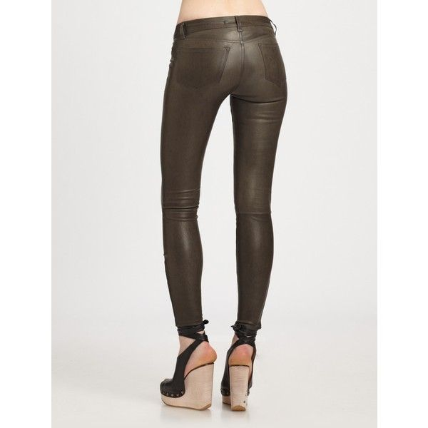 J Brand Mid-Rise Leather Leggings ($895) ❤ liked on Polyvore