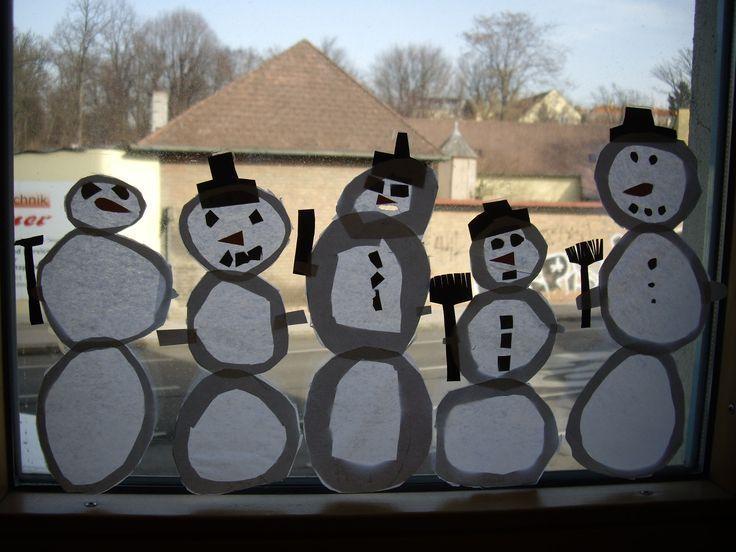Schneemänner als Fensterbild – #fensterbild #schneemanner,  #als #Fensterbild #Schneemänner #…